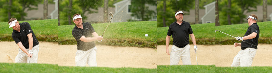 Groom plays golf at New Seabury Country Club in Cape Cod.