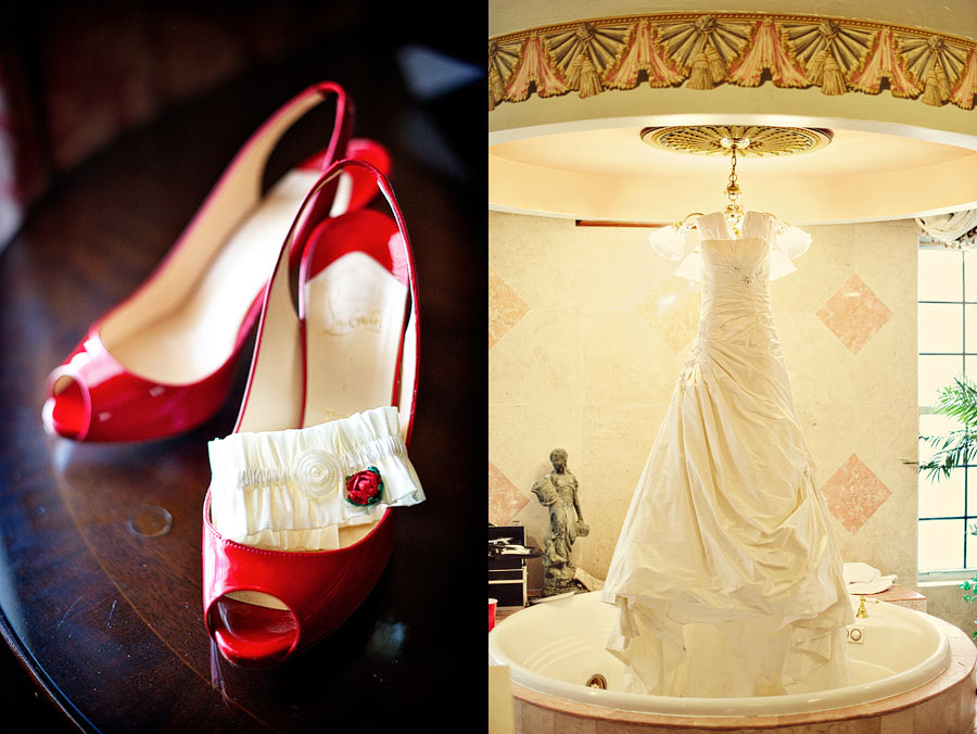 Red shoes for the bride.