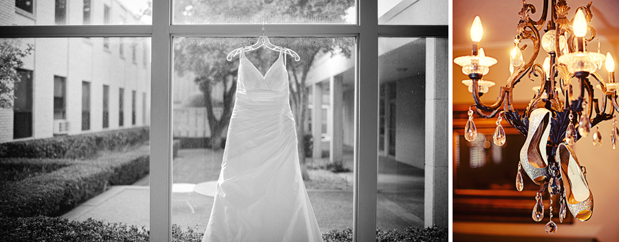 Black and white wedding dress photo in the window at First United Methodist Church, Graham, Texas