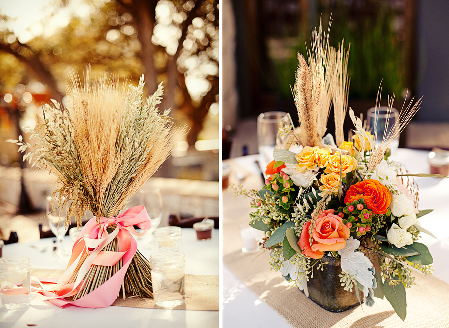 handmade wheat centerpieces, country wedding centerpieces