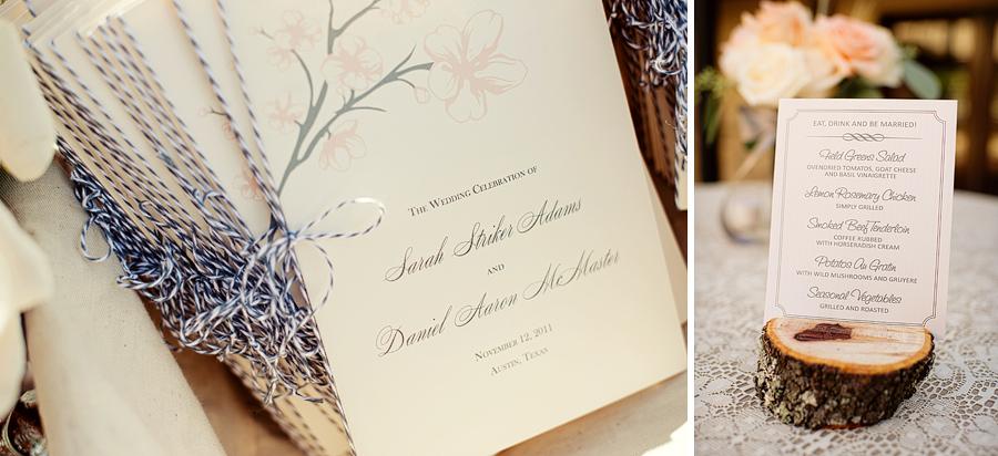 menu placecard in wood at wedding