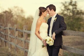 bride and groom farm wedding portrait