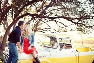old pickup truck in engagement photos.