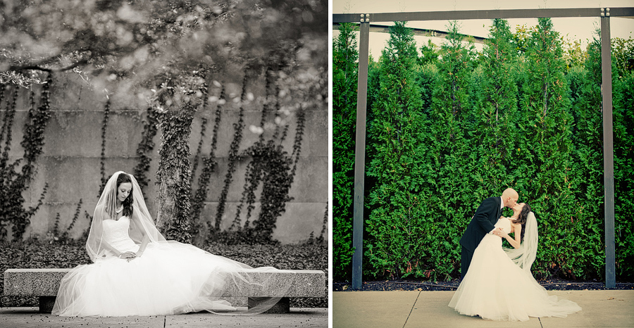bride and groom photos at the chicago art institute in downtown