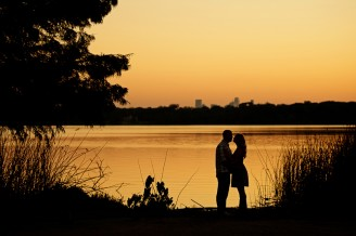 Sunset Silhouette Engagement Pictures