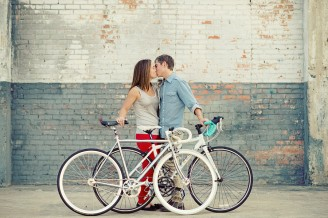 bike lovers engagement photos