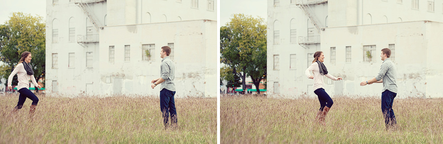 Running through a field engagement photos