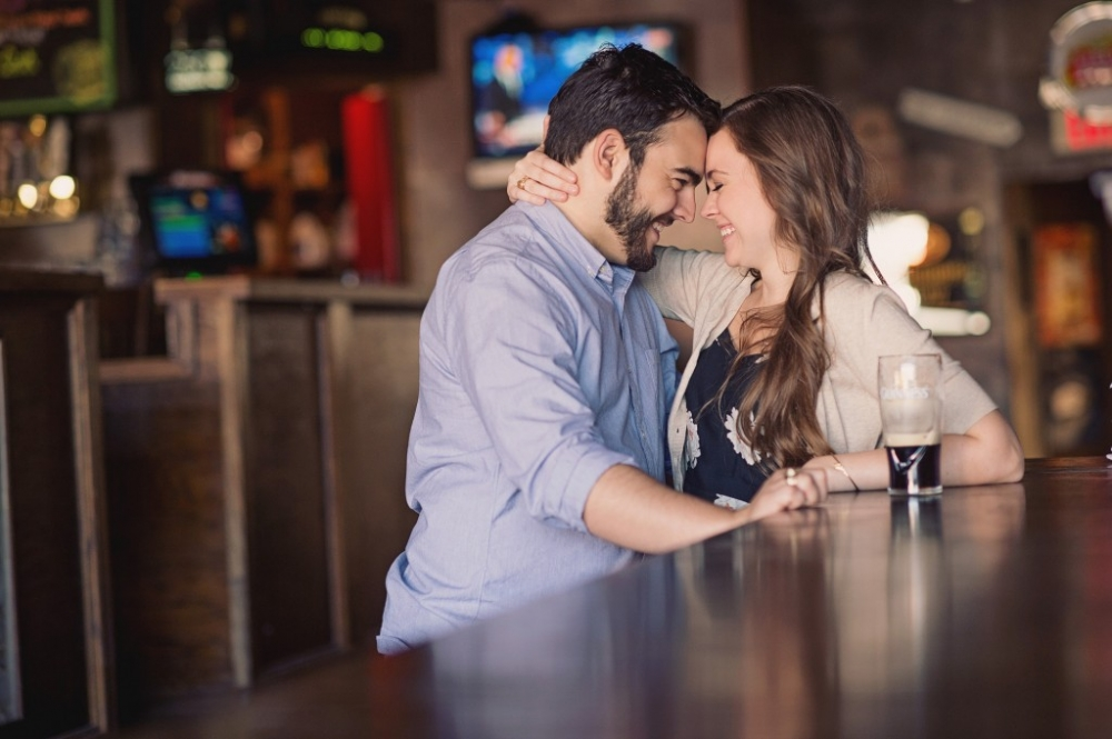 College station bar engagement photos
